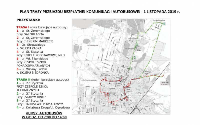 Bezpłatna komunikacja autobusowa w dniu 1 listopada 2019 r.