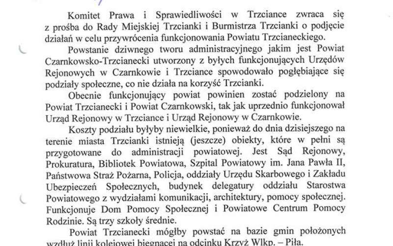 prośba przywrócenie Powiatu Trzcianeckiego