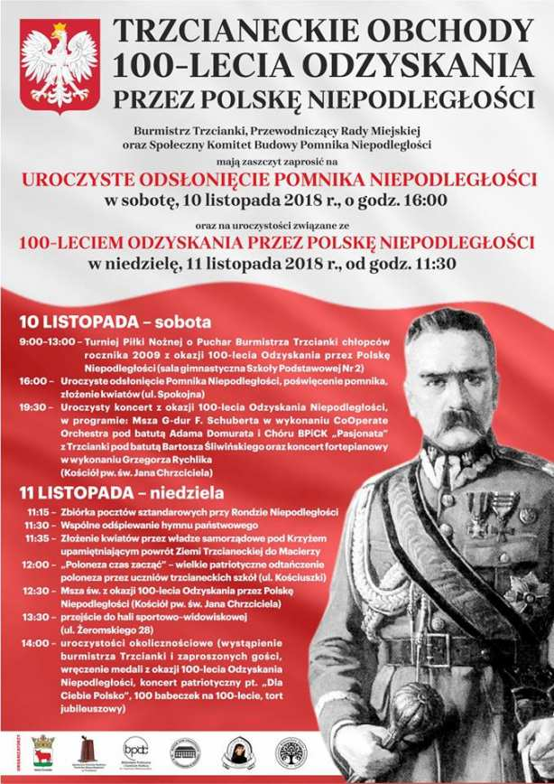 Trzcianeckie Obchody 100 lecia odzyskania przez Polskę niepodległości.